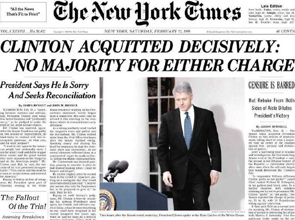 President Bill Clinton is acquitted by the Senate of charges of perjury and obstruction of justice (Photo: Twitter)