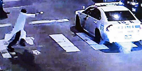 Surveillance footage captured in 2016 shows Edward Archer shooting at a Philadelphia police officer in his squad car