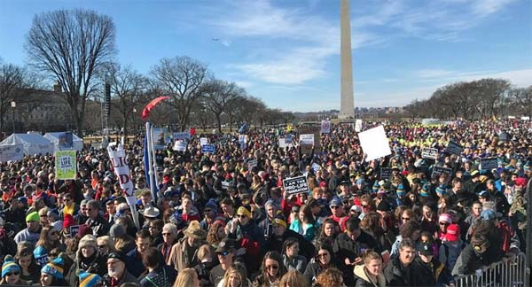 Pro-life Americans at March for Life in Washington, D.C. (Photo: Twitter/ABC7)