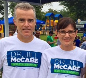 Andrew McCabe appears at campaign event for his wife even after FBI officials prohibited him from supporting the campaign in any way (Photo: Twitter)