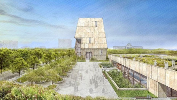 The Obama Presidential Center design as seen from the south side of the campus