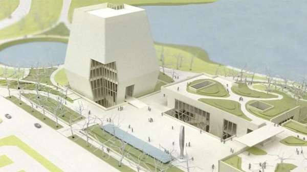 This view of the Obama Presidential Center designs shows the museum forum and library