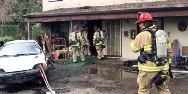 Fire at apartment in Redding, California, after man tries to kill a spider with a torch lighter (Photo: Twitter/Fox59 News)