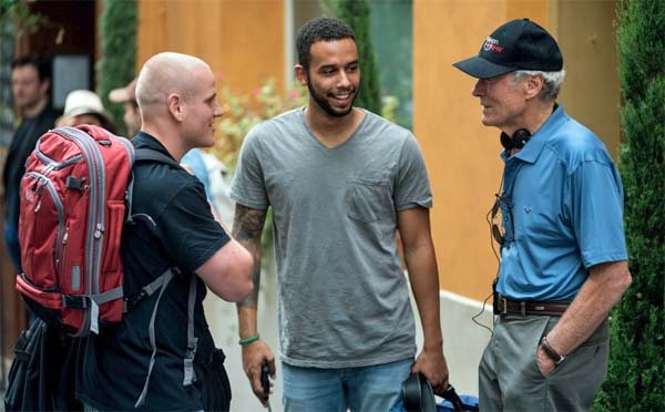 U.S. Air Force Staff Sgt. Spencer Stone, left, California State University student Anthony Sadler, middle, and 'The 15:17 to Paris' director Clint Eastwood, right (Photo: Warner Bros.)
