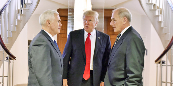 President Trump with Vice President Mike Pence and White House Chief of Staff John Kelly (Photo: Wikimedia Commons)