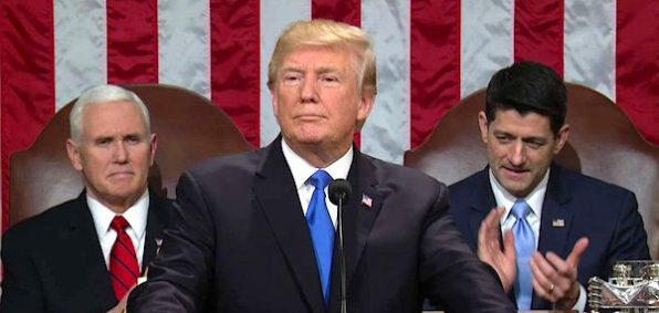 President Trump speaks at his first State of the Union address on Jan. 30, 2018 (Photo: screenshot)