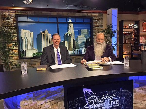 "Author Joe Kovacs on the set of ""Shabbat Night Live"" with host Michael Rood."