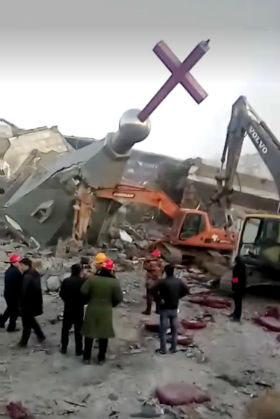 Demolition of Golden Lampstand Church in Linfen, China (Photo: China Aid)