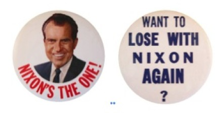 Pro and Anti-Nixon Campaign Buttons from the 1968 campaign (Author's collection).