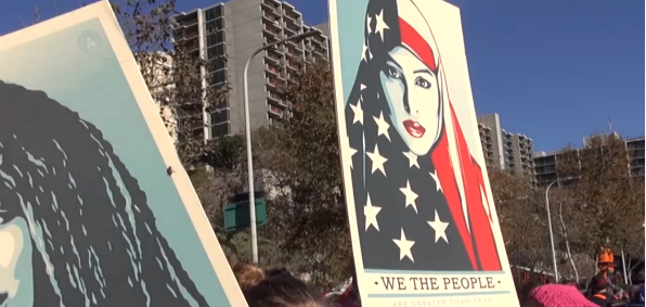 Participant in the Women's March in Los Angeles Jan. 21, 2018, demonstrated on behalf of Muslim women (Screenshot: Austen Fletcher video)