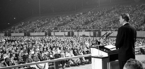 Evangelist Billy Graham speaks at Doak Campbell Stadium in Tallahassee, Florida, on Feb. 11, 1961 (Photo: State Library and Archives of Florida)