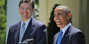 Then-President Barack Obama and James Comey in the Rose Garden of the White House, June 21, 2013, as Obama announced Comey's nomination to succeed Robert Mueller as FBI director (Photo: Wikimedia Commons)