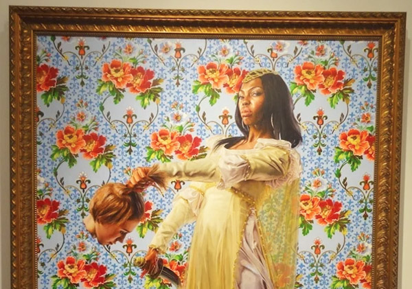 "Screenshot of 2013 painting by Kehinde Wiley known as ""Judith Beheading Holofernes"" from the collection ""A New Republic."""