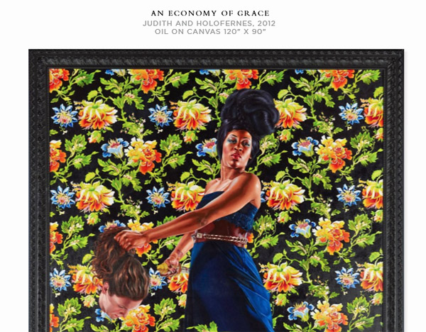 "Screenshot of 2012 painting by Kehinde Wiley known as ""Judith and Holofernes"" from the collection ""An Economy of Grace."""