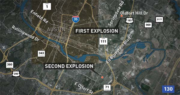 Map shows locations of first and second explosions on March 12, 2018, in Austin, Texas (Photo: Twitter)