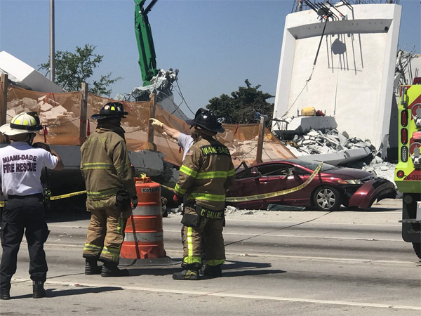 Miami Herald reporter Monique O. Madam tweeted this photo of the bridge collapse Thursday afternoon