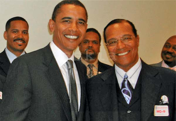 Then-Sen. Barack Obama poses with Nation of Islam leader Louis Farrakhan in 2005 at a Congressional Black Caucus meeting on Capitol Hill. This photo, taken by Askia Muhammad, was kept hidden from the public until 2018 upon the request of the Congressional Black Caucus