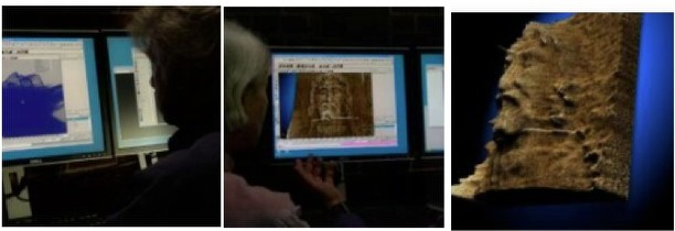Using 3D computer graphics technology, Downing and his team extract 3D information from the Shroud of Turin. ©Ray Downing