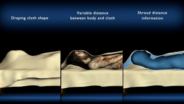 A cloth draped body conceals the specifics of the individual's features. The Shroud's distance information shown in blue (far right image) can be used to restore some of those details. ©Ray Downing