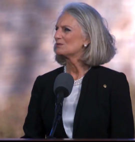 Anne Graham Lotz speaks at the funeral of her father, Rev. Billy Graham, March 2, 1018.