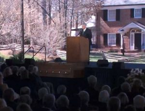 Rev. Franklin Graham speaks at the funeral of his father, Rev. Billy Graham March 2, 2018, in Charlotte, North Carolina (Video screenshot).