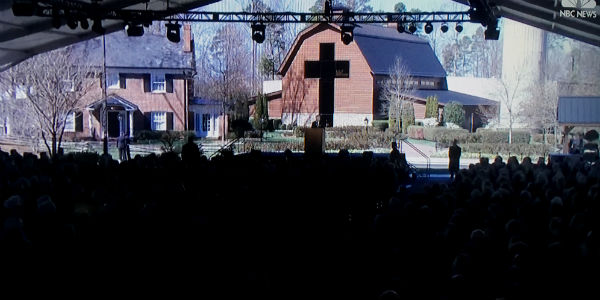Rev. Billy Graham's funeral at the site of Billy Graham's childhood home in Charlotte, North Carolina, March 2, 2018 (Video screenshot).