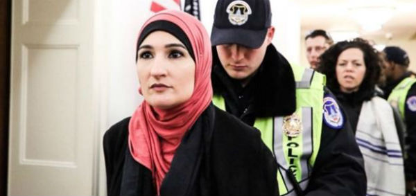 Linda Sarsour arrested by Capitol Police with other Muslim activists March 5, 2018, in front of the office of House Speaker Paul Ryan.