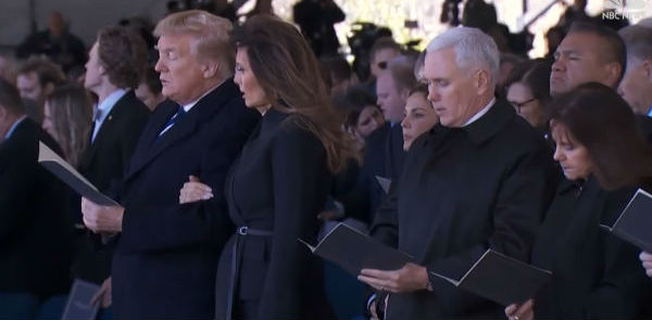 President Trump, first lady Melania Trump, Vice President Mike Pence and Karen Pence at the funeral for Rev. Billy Graham in Charlotte, North Carolina, March 2, 2018 (Video screenshot).