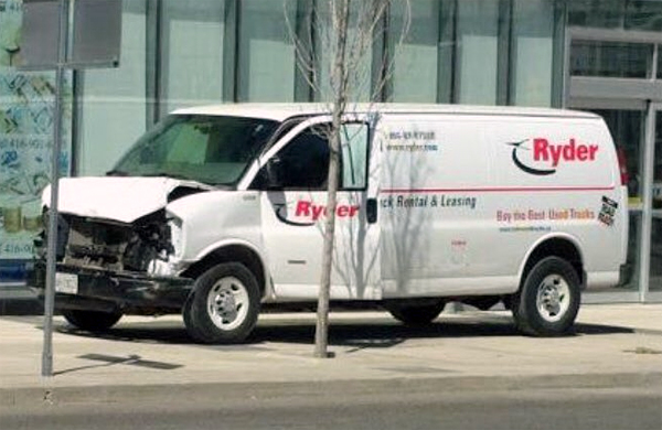 Ryder van used in attack on Toronto pedestrians on April 23 (Photo: Twitter)