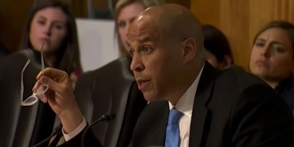 Sen. Cory Booker, D-N.J., questions Mike Pompeo at a Senate confirmation hearing April 12, 2018. (Screenshot C-SPAN video).
