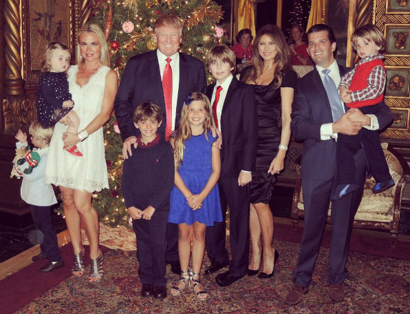 Donald Trump Jr. and family with Donald and Melania Trump