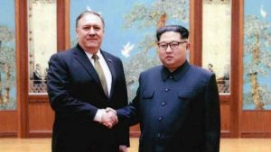 Mike Pompeo, then CIA director, meets in Pyongyang with North Korean dictator Kim Jong Un (White House photo)