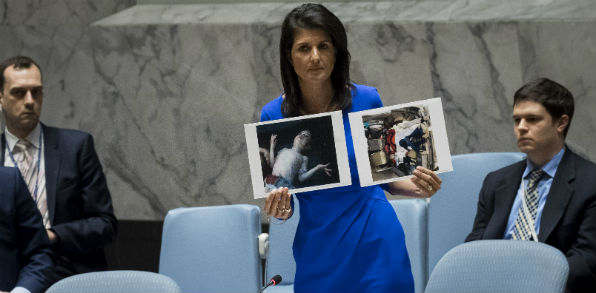 U.N. Ambassador Nikki Haley presents images of an alleged chemical attack in Syria at a U.N. National Security Council meeting. (Screenshot Time magazine video).