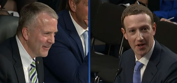 Sen. Dan Sullivan, R-Alaska, questions Facebook CEO Mark Zuckerberg at a House hearing April 10, 2018. (Screenshot C-SPAN).