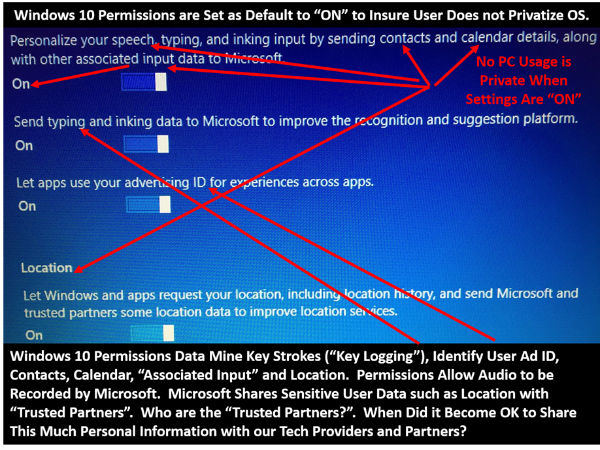 Rex Lee notes default privacy settings on screenshot of Windows 10 agreement