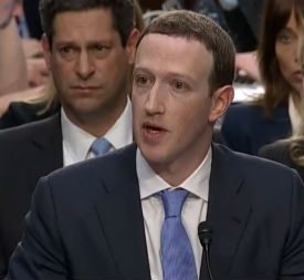 Facebook CEO Mark Zuckerberg testifies before a joint Senate committee April 10, 2018 (Screenshot YouTube)