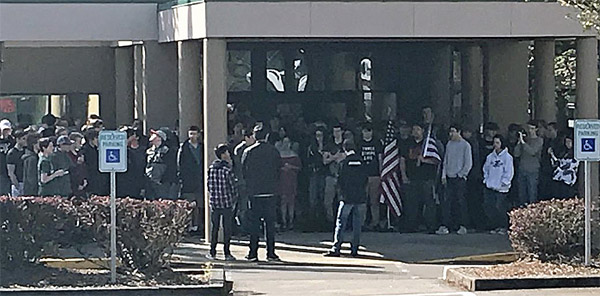 Students at Tigard High School in Tigard, Oregon, participate in pro-Second Amendment walkout on May 2