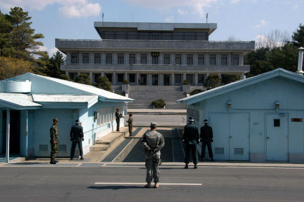 A view from South Korea towards North Korea in the Joint Security Area at Panmunjom. (Wikimedia Commons)