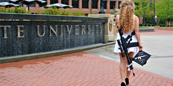 Kaitlin Bennett, 22, graduated from Kent State University and tweeted photos of herself carrying an AR-10 rifle on campus to protest the university's weapons policy (Photo: Twitter)