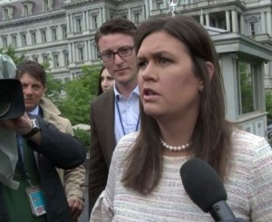 White House press secretary Sarah Sanders speaks to reporters outside the White House May 16, 2018 (Twitter photo)