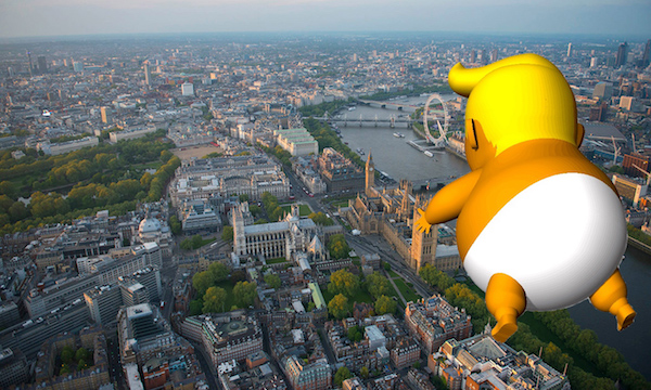 Depiction of Trump Baby flying over London (Crowdfunder)