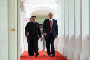 President Donald J. Trump and North Korean leader Kim Jong Un, walk together to their one-on-one bilateral meeting, Tuesday, June 12, 2018, at the Capella Hotel in Singapore. (Official White House Photo by Stephanie Chasez)