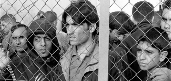 Arrested refugees-immigrants in Fylakio detention center, Evros, Greece. (Wikipedia)