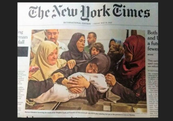 Front page stories around the world featured an 8-month-old baby Palestinians claim was killed by Israeli forces.