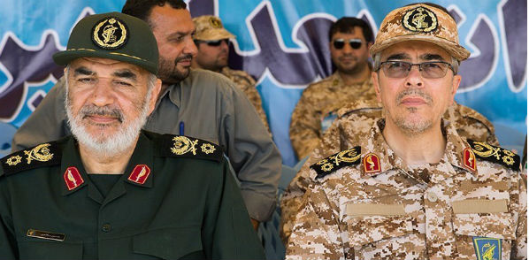 Iranian Revolutionary Guard deputy Hossein Salami and Sardar Mohammad Bagheri in April 2016 (Wikimedia Commons)