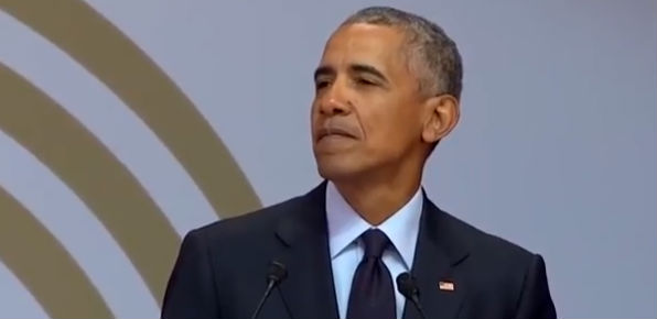 Former President Barack Obama delivers the Nelson Mandela lecture in Johannesburg, South Africa, July 17, 2018.