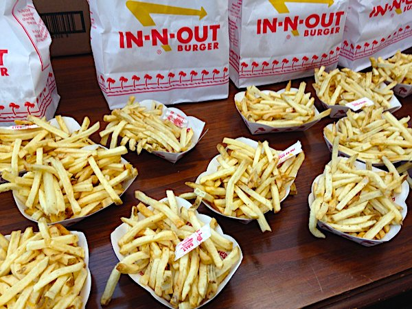 Part of the large order of burgers and fries at the office of California Sen. Jim Nielsen, R-Tehama, on Aug. 30, 2018