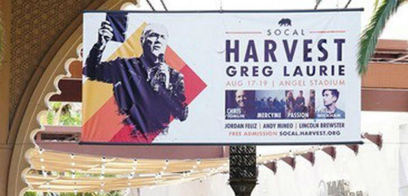 Banner advertising Harvest Crusade (CBN News)