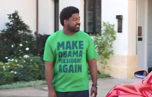 "A character on HBO's ""Ballers"" sports a ""Make Obama President Again"" T-shirt (Video screenshot)"