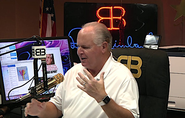 Rush Limbaugh celebrating 30 years on the air on Aug. 1, 2018 (Video screenshot)